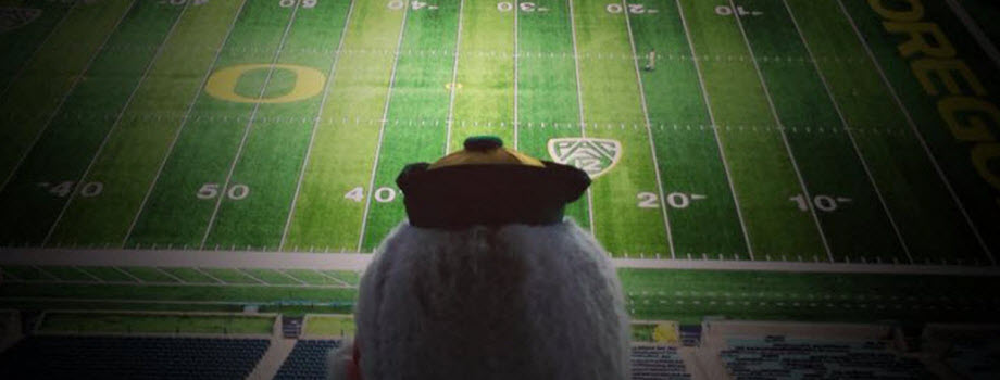 The Duck overlooks Autzen and the O