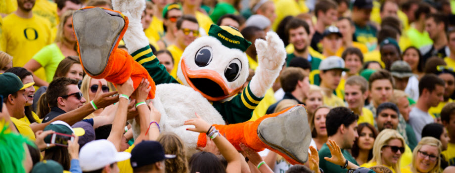 UO The Duck in the stands at Autzen